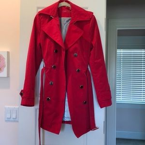 Red short trench coat